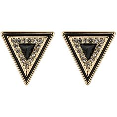 House of Harlow TEEPEE TRIANGLE STUDS Earrings/black ($37) ❤ liked on Polyvore featuring jewelry, earrings, accessories, gold, brincos, triangle earrings, pearl earrings, triangle stud earrings, triangular earrings and stud earrings