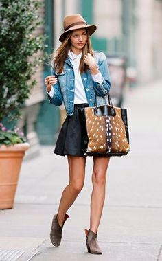 Black leather skirt white button down and denim jacket. Perfection orMiranda Kerr.