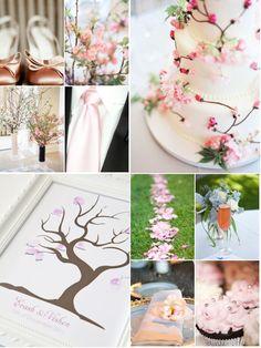 Cherry Blossom Wedding Theme Spring Marquee - ideas para boda en colores blanco y rosa (cerezo en flor)