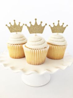 Gold Crown Cupcake Toppers / Where The Wild Things Are / Boy First Birthday / Little Prince Baby Shower / Princess / Wild One Theme in 2019 . May Gold Crown Cupcake Toppers, Crown Cupcakes, Cupcakes For Boys, First Birthday Cupcakes, Prince Birthday Party, Baby Boy Birthday, Prince Party, Boy Baby Shower Themes, Baby Shower Cakes