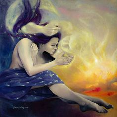 """Heaven For Two - Original art, tehnique: painting, oil on canvas, part of """"Impossible Love""""series, size 80/80 cm. Price: 1300 Euros"""