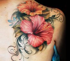 Hibiscus tattoos and hibiscus tattoo meanings-hibiscus tatto Tattoo Cover, Body Art Tattoos, Sleeve Tattoos, Cover Up Back Tattoos, Tattoo Fonts, Flower Tattoo Back, Flower Tattoo Shoulder, Flower Tattoo Designs, Snake Tattoo