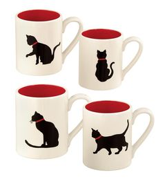 Get your paws on this set of 4 black cat ceramic coffee mugs. Mugs are made from ceramic and feature black cat design. Black cat ceramic coffee mugs are the cat's meow. Cat Cafe, Cat Mug, Ceramic Painting, Crazy Cat Lady, Mug Cup, Tea Mugs, Mug Designs, Coffee Cups, Coffee Set