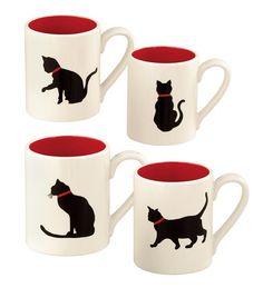 Набор 4 прочная керамическая кружки или десертные тарелки художника Лесли Саттлер имеет четыре игривые черных кошек в различных позах - 49.95 $