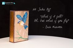 """Houston Llew Spiritile, handmade from glass kiln-fired to copper, with a story wrapped around the sides: 164 'Take Off!' """"What if I fall? Oh, but what it you fly!"""" - Erin Hanson"""