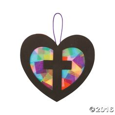 Religious: Cross in Heart Tissue Sign Craft-12Pk Party Supplies Canada - Open A Party