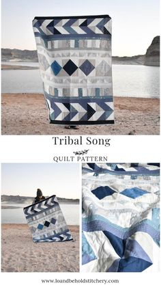 Gorgeous Tribal Song Quilt pattern- Shop Mook Fabrics fabric store in Medicine Hat Alberta, Winnipeg Manitoba and Leola Pennsylvania for your new favorite fabrics for all your creations! Patchwork Quilting, Scrappy Quilts, Denim Quilts, Blue Jean Quilts, Diy Quilting, Beginner Quilting, Southwest Quilts, Boy Quilts, Sewing Projects For Beginners