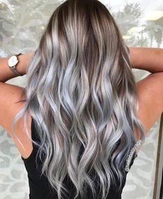 Blonde And Blue Hair, Grey Hair Wig, Blue Grey Hair, Light Blue Hair, Blond Ombre, Blue Ombre Hair, Cool Blonde Hair, Hair Dye Colors, Cool Hair Color