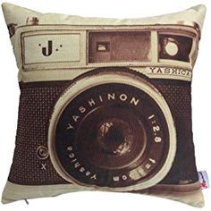 "18/""x18/"" Vintage Black White Camera Lens Building Linen Pillow Case Cushion Cover"