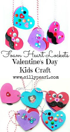 The Silly Pearl {Handmade}: Valentine's Day Kids Craft: Foam Heart Lockets