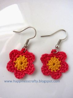 Happiness Crafty: Crochet Flower Earrings ~ Free Pattern