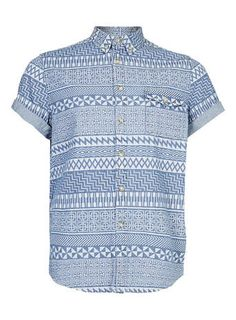 White Aztec Print Short Sleeve Blue Denim Shirt - Men's Shirts - Clothing
