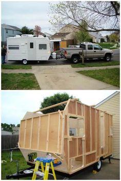Diy Camper Trailer Designs, Home Made Camper Trailer, Camping Trailer Diy, Small Camper Trailers, Cargo Trailer Camper, Small Trailer, Vintage Campers Trailers, Camping Car, Camper Ideas
