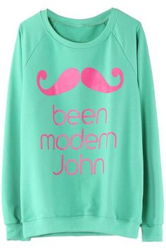 ROMWE | Mustache Printed Green Pullover, The Latest Street Fashion