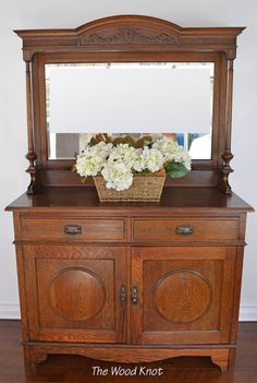 Antique sideboard with mirror. It can be by TheWoodKnotFurniture Dresser Vanity Bathroom, Single Sink Bathroom Vanity, Vintage Dressers, Old Dressers, Vintage Buffet, Antique Sideboard, Antique Chandelier, Old Wood, End Tables