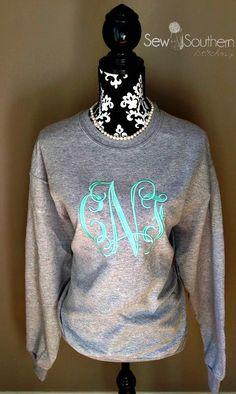 Jumbo Monogrammed Sweatshirt by SewSouthernStitchery on Etsy, $35.00