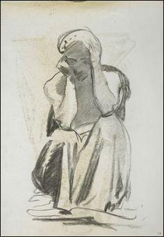 John Singer Sargent, Study for the Prophet Obadiah, Boston Public Library (Sketchbook: Studies for Frieze of the Prophets, Boston Public Library, page 4), 1890–95.