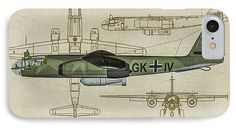 Bomber IPhone 7 Case featuring the digital art Arado Ar234b-2 - Profile Art by Tommy Anderson