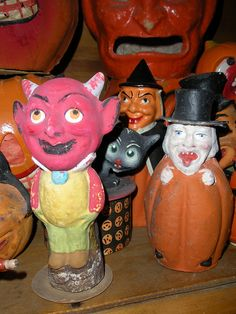 Vintage Devil in a Tux/Witch In Pumpkin composition candy containers.