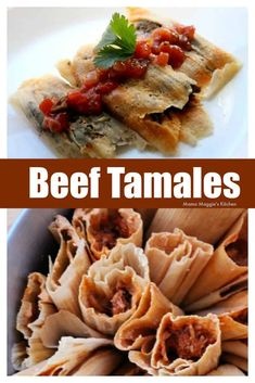 Beef tamales are amazingly delicious with just the right amout of spicy flavors. Unwrap these tasty Mexican goodies, top with salsa, and enjoy! By Mama Maggie's Kitchen