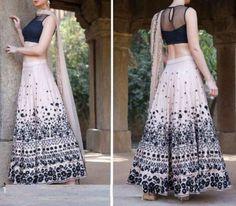 Black & Beige Silk Printed Lehenga Choli For Women #Black #Beige #Silk #Lehenga