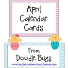 FREE---Enjoy this set of fun April Calendar Cards. Can also be used as counting cards for the little ones! Kindergarten Calendar, Preschool Calendar, In Kindergarten, Easter Calendar, Calendar Time, Classroom Labels, Classroom Decor, Classroom Activities, Numbers Preschool