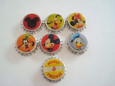 Disney Mickey and Friends Bottle Caps by VintageCharmPlace on Etsy, $3.00