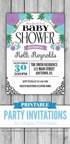 a pretty printable teal and purple baby shower invitation with springtime flowers perfect for a