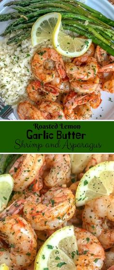 Roasted Lemon Garlic Butter Shrimp and Asparagus #Roasted #Lemon #Garlic #Butter #Shrimp #and #Asparagus Healthy Recipes For Weight Loss,