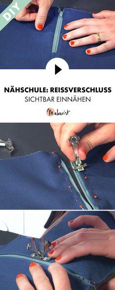 Reißverschluss auch dort einnähen, wo keine Naht ist - Step by Step erklärt im Video-Kurs via Makerist.de