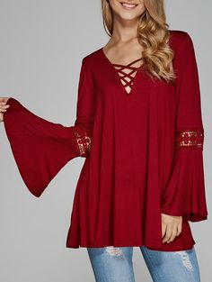 Blouses&Shirts | Wine red Bell Sleeve Openwork V Neck Blouse - Gamiss