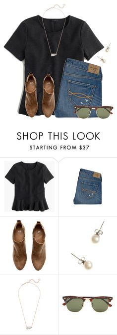 """t h u r s d a y"" by flroasburn on Polyvore featuring J.Crew, Abercrombie & Fitch, H&M, Kendra Scott and Ray-Ban"