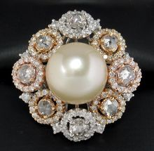 GASP! This is breathtakingly beautiful: Flawless South Sea Pearl Multi-Diamond Cocktail Ring
