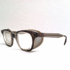 STEAMPUNK SAFETY GLASSES / Vintage Horn Rimmed Industrial Chic Eyeglasses.