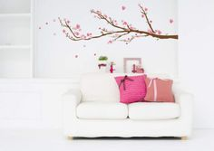 Sticker for wall - Wandtatoos for nursery, living room, bedroom -Cherry Blossoms Blossom Trees, Cherry Blossoms, Cherry Blossom Bedroom, Dorm Necessities, Girls Wall Stickers, Do It Yourself Design, Decoration Stickers, Stick Decorations, Wall Safe