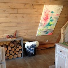 Art on our sloped wall (a-frame cabin)