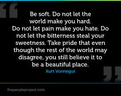 Be soft. Do not let the world make you hard. Do not let pain make you hate. Do not let the bitterness steal your sweetness. Take pride that even though the rest of the world may disagree, you still believe it to be a beautiful place. - Kurt Vonnegut