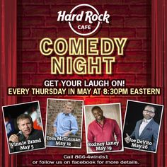 Get Your Laugh on every Thursday in May at Hard Rock Cafe Four Winds' Comedy Night!