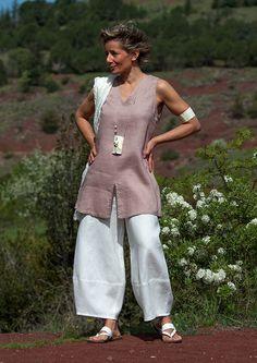 Pantalon large en lin blanc-:- AMALTHEE CREATIONS-:- n° 3356