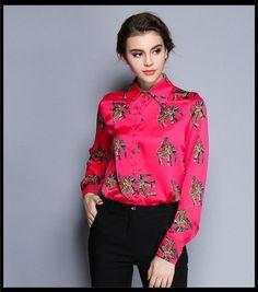 Moet &She High Quality Ladies Shirt Blouse Silk Love Animal Elephant Pattern Green Yellow Rose Red Stylish Tops Women T69910R