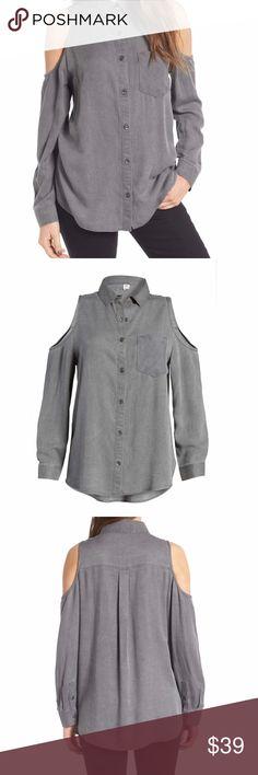 e2ac2d63 BP. Cold Shoulder Shirt BP. Cold Shoulder Button Down Shirt Color: Grey  Magnet