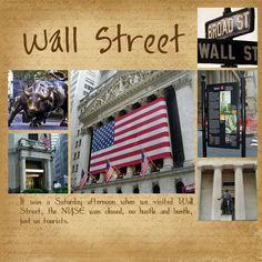 new york scrapbook pages Travel Scrapbook Pages, Vacation Scrapbook, Scrapbook Examples, Scrapbook Page Layouts, St Street, Wall Street, New York Scrapbooking, Scrapbooking Ideas, Digital Scrapbooking