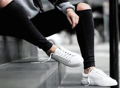 Minimal street style with white sneakers