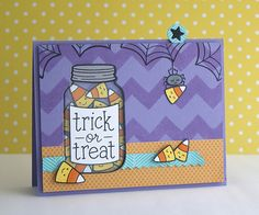 I love the acetate jar with the absolutely adorable Lawn Fawn stamps.  This card is interactive!  It will switch between a candy-filled jar and a jar with spiders.  Neat!