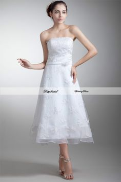 Wholesale Lace Strapless A Line Beading Tea length Wedding Dress Custom made Plus size  WD83537