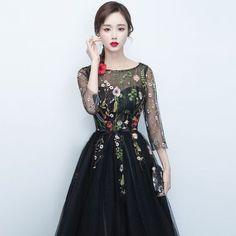 3ed06997e108e  2色 シースルー 花柄刺繍 オーガンジー ミディアムドレス. プロムドレスウェディングドレス結婚式の刺繍レディース ...
