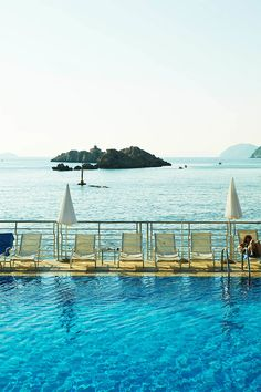 A view of the Adriatic Sea from Dubrovnik's Lapad Peninsula, as seen from the Dubrovnik Palace hotel // photo by Mark Read photography #dubrovnik #croatia #sea #pool