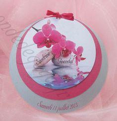 Faire part 3 ronds orchidée fuchsia pour votre mariage, baptême, communion, anniversaire....