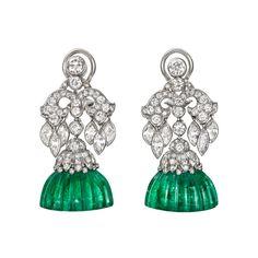 Van Cleef & Arpels ~ Art Deco Emerald & Diamond Earrings