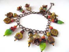 Beaded Charm Bracelet Cha Cha Autumn colors by moonlilydesigns